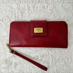Fossil  Leather Dark Red  Wallet Wristlet